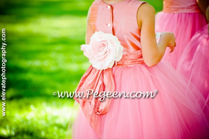 Coral Rose and Sunset (coral) flower girl dresses
