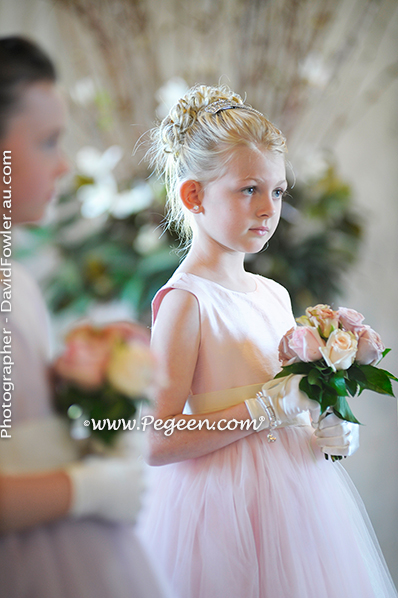 2013 Flower Girl Dress of The Year in Peony Pink and Lavender Tulle and Silk Pegeen Couture Style 402