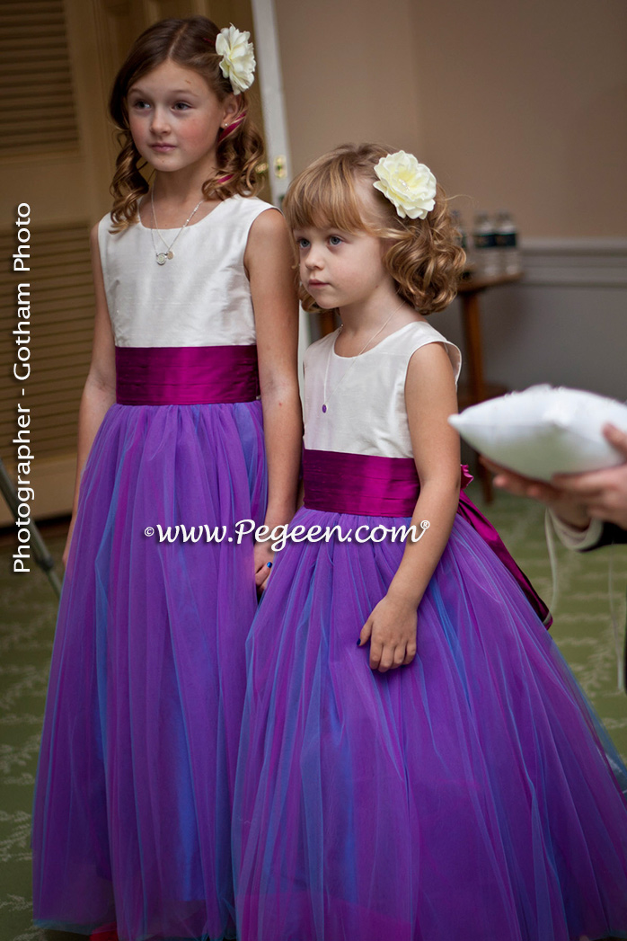 2013 Flower Girl Dress Runner Up - in Hot Pink & Purple Tulle | Pegeen