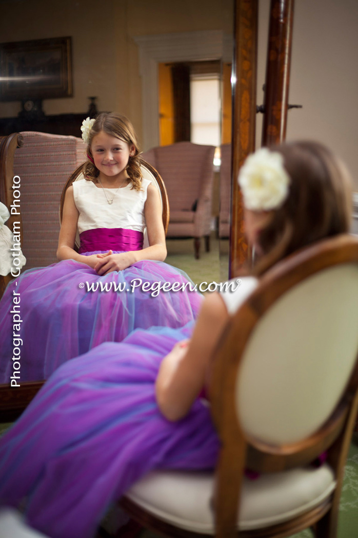 2013 Flower Girl Dress of The Year Runner Up in Flamingo and Passion (Purple) Tulle and Silk Pegeen Style 356