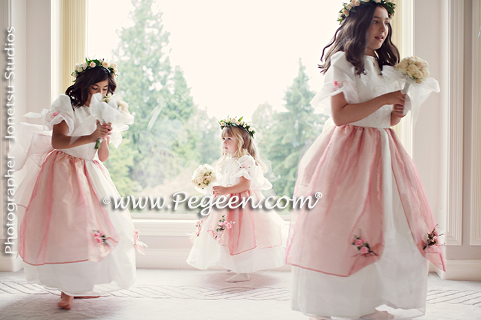 2013 Flower Girl Dress of The Year in New Ivory and Pink Lame Tulle and Silk Pegeen Couture Style 402