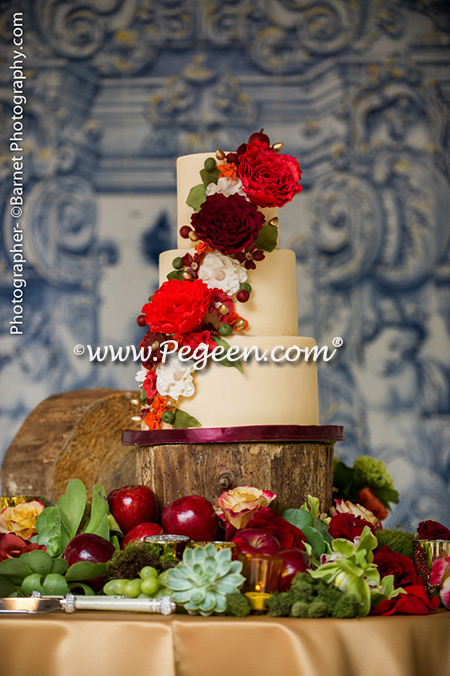 Red cake accents at Pegeen's Wedding of the Year