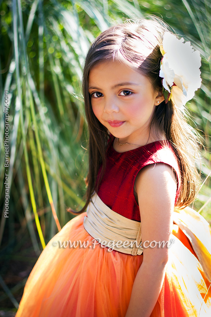 Red, gold and orange silk flower girl dress