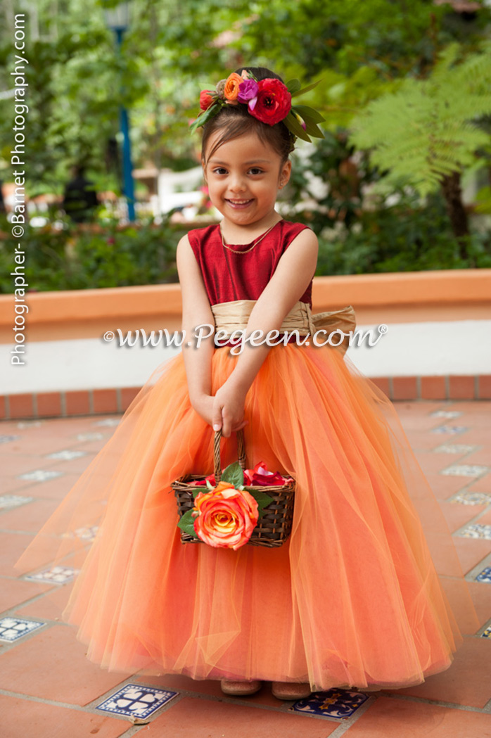 Flower Girl Dresses Garden Wedding Of The Year 2014 In Claret Red And Spun Gold Pegeen Couture Style 402