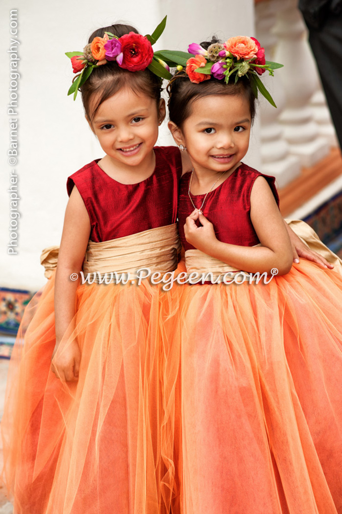 Flower Girl Dresses/Garden Wedding of the Year 2014 in Claret Red and Spun Gold Pegeen Couture Style 402