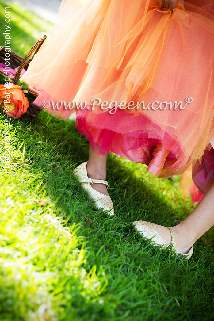 Flower Girl Dresses in orange, mango, gold and red