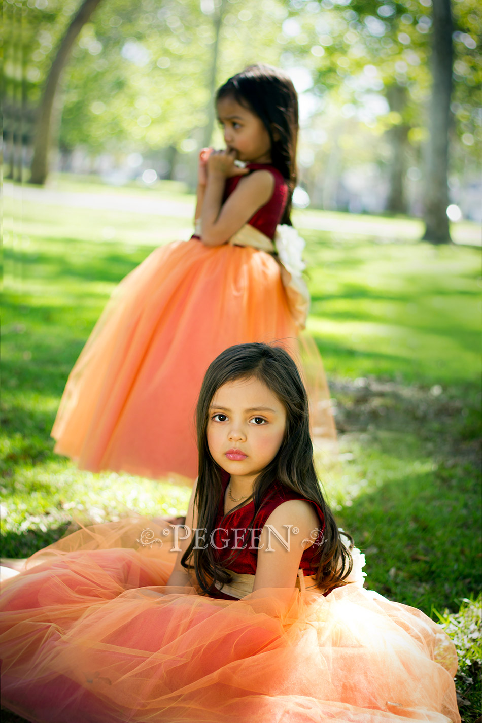 9be9a946303 Flower Girl Dresses Garden Wedding of the Year 2014 in Claret Red and Spun  Gold Pegeen Couture Style 402