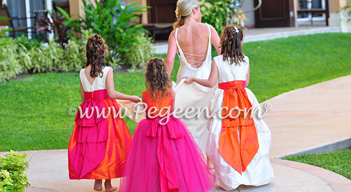 Flower Girl Dresses/Island Wedding of the Year 2014 in Mango Orange, Hot Pink and Ivory