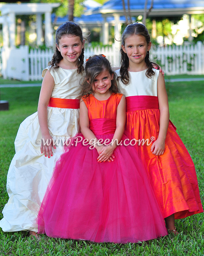 Flower Girl Dresses/Island Wedding of the Year 2014 in Mango Orange and Hot Boing Pink