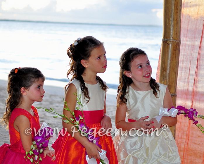 Flower Girl Dresses/Island Wedding of the Year 2014 in Mango Orange and Hot Boing Pink Flower Girl Dresses/Island Wedding of the Year 2014 in Mango Orange and Hot Boing Pink - Pegeen Couture 402