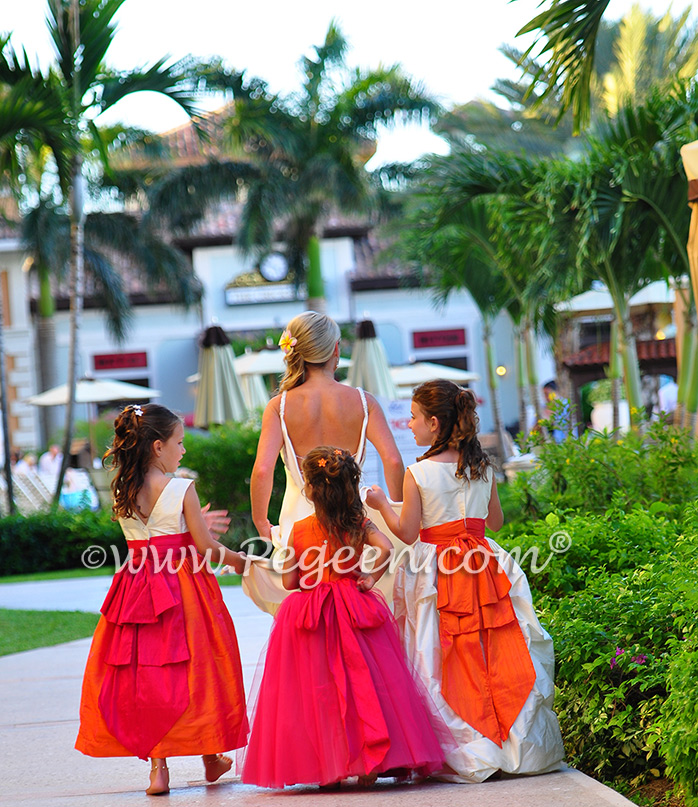 Flower Girl Dresses in Lipstick Pink, Mango, and Bisque