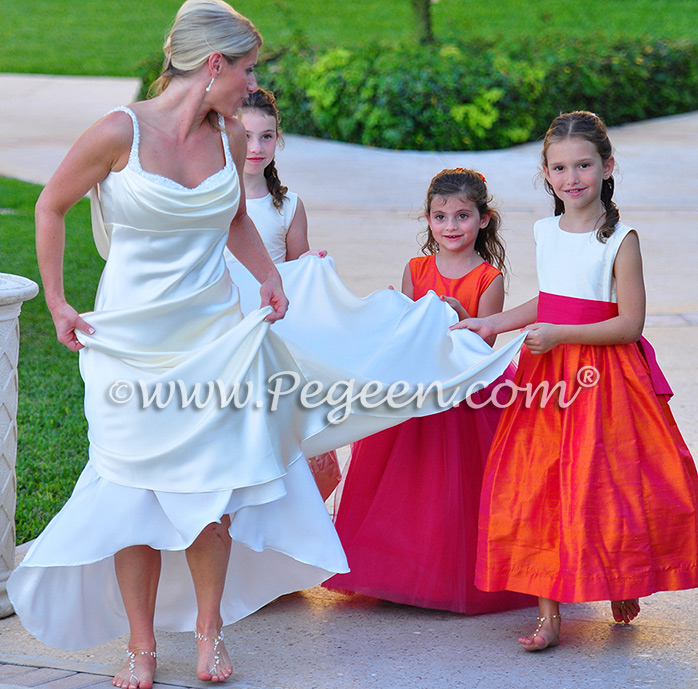 Mango and Shock Pink Custom Silk Flower Girl Dresses Style 345