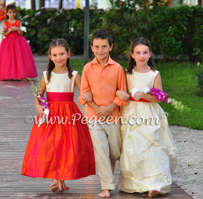 Flower Girl Dresses/Island Wedding of the Year 2014 in Mango Orange and Hot Boing Pink Flower Girl Dresses/Island Wedding of the Year 2014 in Mango Orange and Hot Boing Pink - Pegeen Styles (l to r) 345, Island Shirt, 403