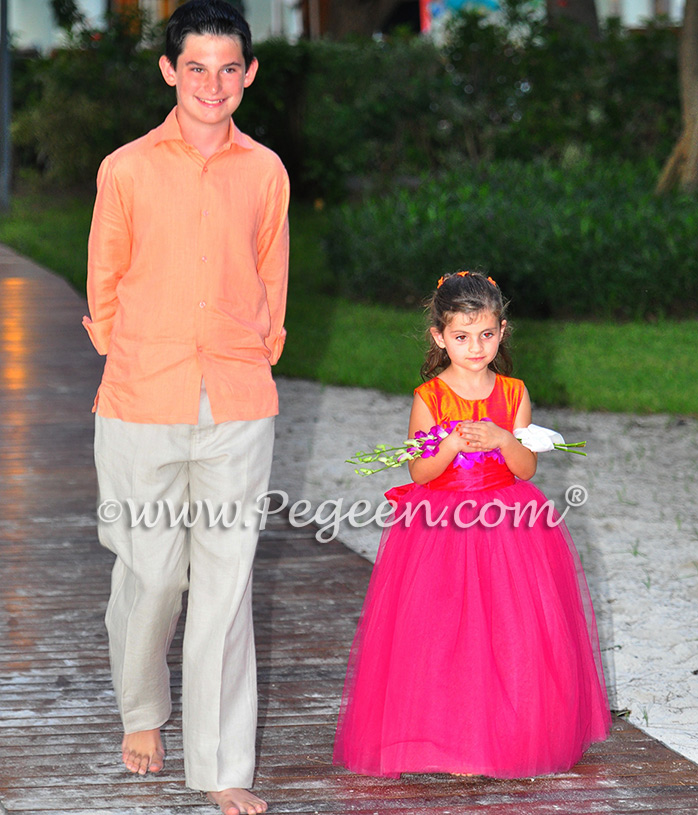 Lipstick and Mango metallic ballerina style FLOWER GIRL DRESSES with layers and layers of tulle