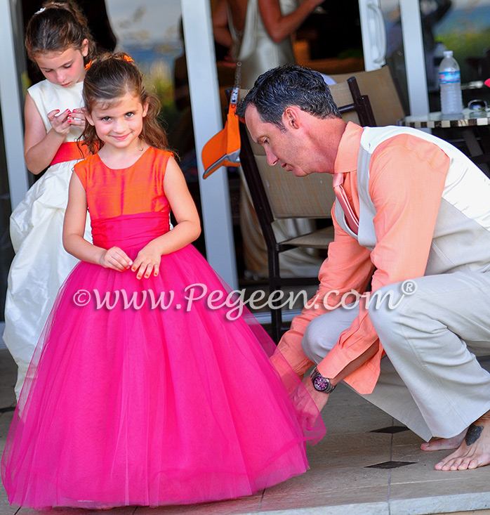 Flower Girl Dresses/Island Wedding of the Year 2014 in Mango Orange and Hot Boing Pink Flower Girl Dresses/Island Wedding of the Year 2014 in Mango Orange and Hot Boing Pink - Pegeen Couture 402, Rear 403
