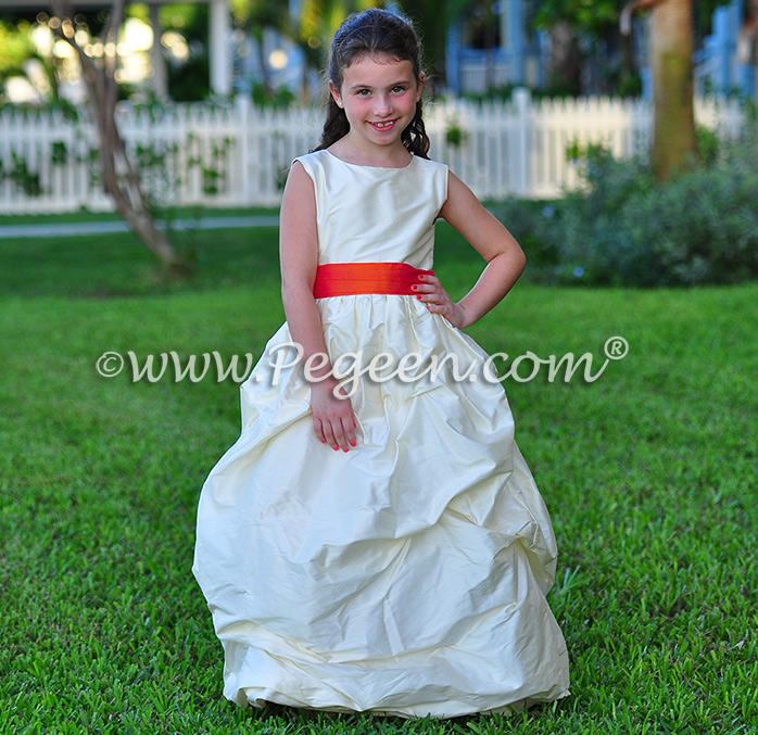BISQUE (CREME) AND MANGO ORANGE FLOWER GIRL DRESSES Style 403