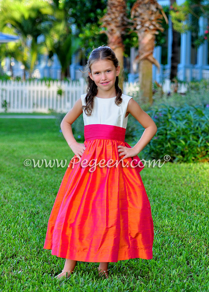 Flower Girl Dresses/Island Wedding of the Year 2014 in Mango Orange and Hot Boing Pink Flower Girl Dresses/Island Wedding of the Year 2014 in Mango Orange and Hot Boing Pink - Pegeen Classic 345