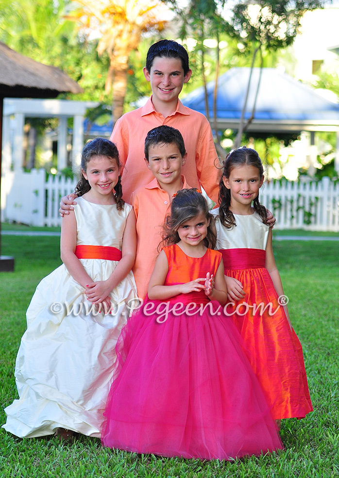 Flower Girl Dresses/Island Wedding of the Year 2014 in Mango Orange and Hot Boing Pink Flower Girl Dresses/Island Wedding of the Year 2014 in Mango Orange and Hot Boing Pink - Pegeen Styles 403, Island Shirts, 402, 345