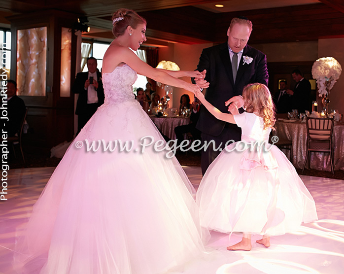 Flower Girl Dresses/California Luxury Wedding of the Year 2014 in Antique White and Peony Pink Style 902 - From the Fairytale Flower Girl Dress Collection in Silk and Tulle with Monogramming