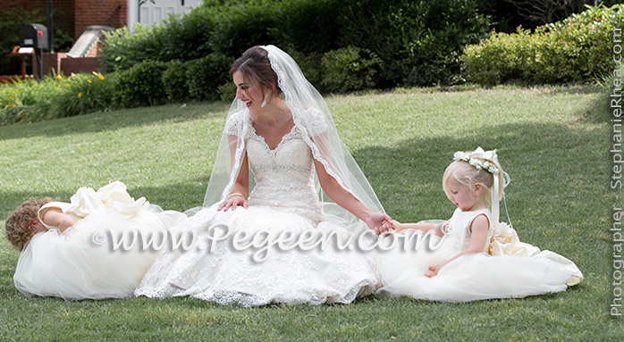 Flower Girl Dresses/Southern Wedding of the Year 2014 in New Ivory