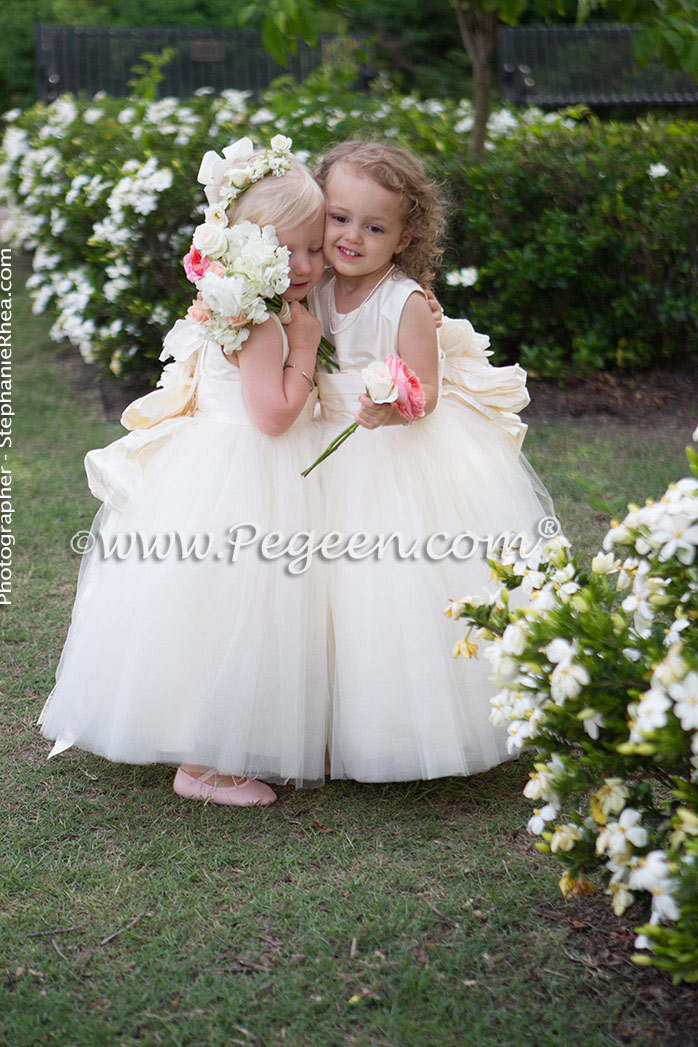 New ivory sillk flower girl dresses