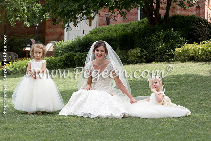 Flower Girl Dresses/Southern Wedding of the Year 2014 in New Ivory and Bisque Style 402