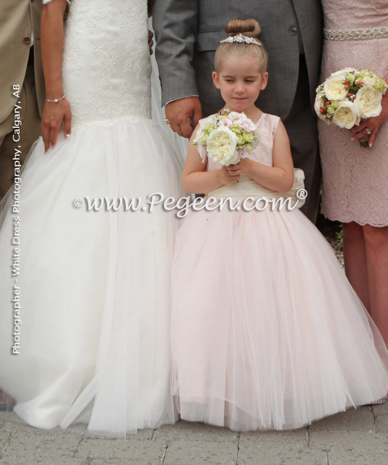 2015 Flower Girl Dress/Wedding of the Year Honorable Mention - Ballet Pink and Bisque Pegeen Couture Style 402