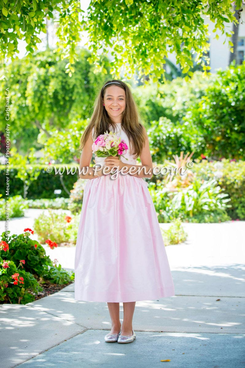 Flower Girl Dresses/Wedding of the Year 2015 Runner Up in Peony Pnk and Champagne Silk
