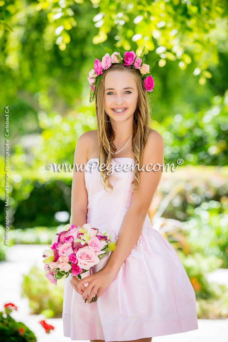 Strapless Jr Bridesmaids Dress Bubblegum Pink Silk | Pegeen