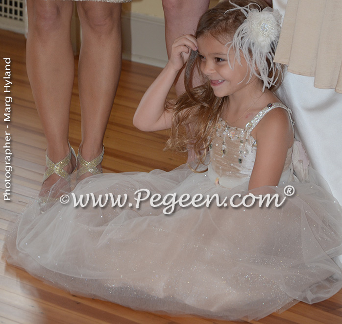 Toffee silk and tulle and Swarovski crystals flower girl dresses