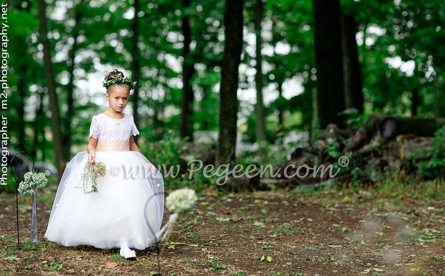 2016 Back Yard Wedding/Flower Girl Dress of the Year in silk and tulle, Swarovski Crystals and Burnout Lace