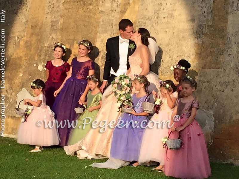 2016 Flower Girl Dress/Wedding of the Year in multiple shades of silk and tulle, Swarovski Crystal and Hydrangea flower petals