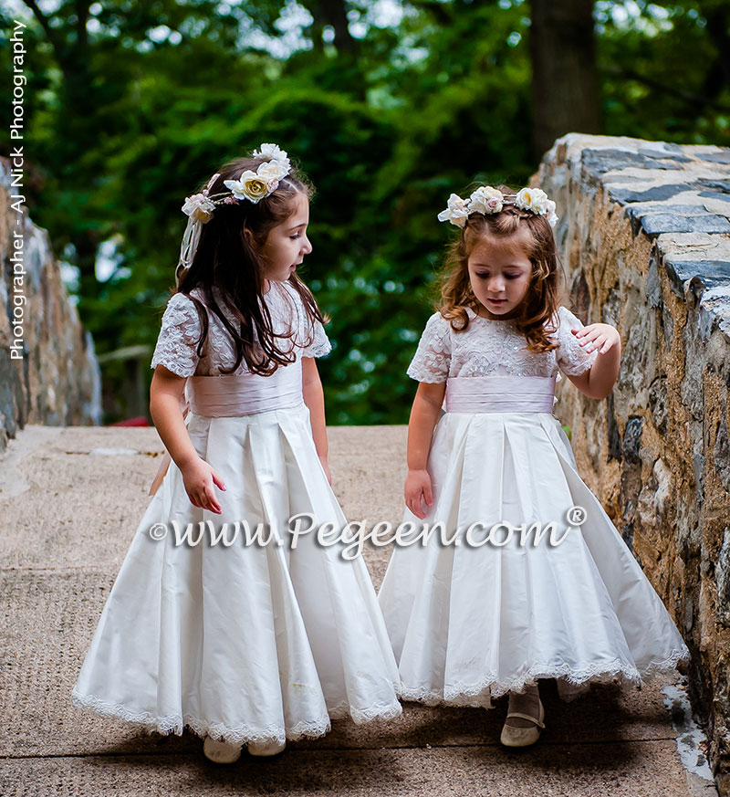 2016 Garden Wedding/ Flower Girl Dress Runner-Up in Ivory and Champagne Pink with Aloncon Lace Trim and Silk Flowers