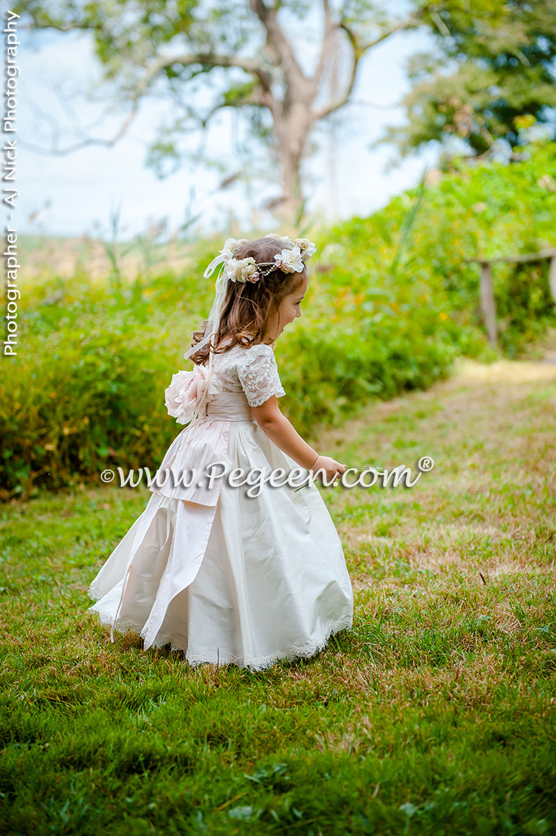 2016 Garden Wedding/Flower Girl Dress of the Year in Ivory and Champagne Pink with Aloncon Lace Trim and Silk Flowers