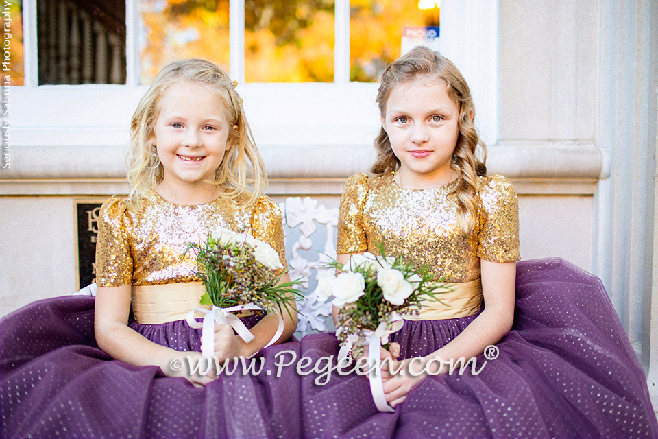 Eggplant and Gold Sequined Silk and Tulle flower girl dresses