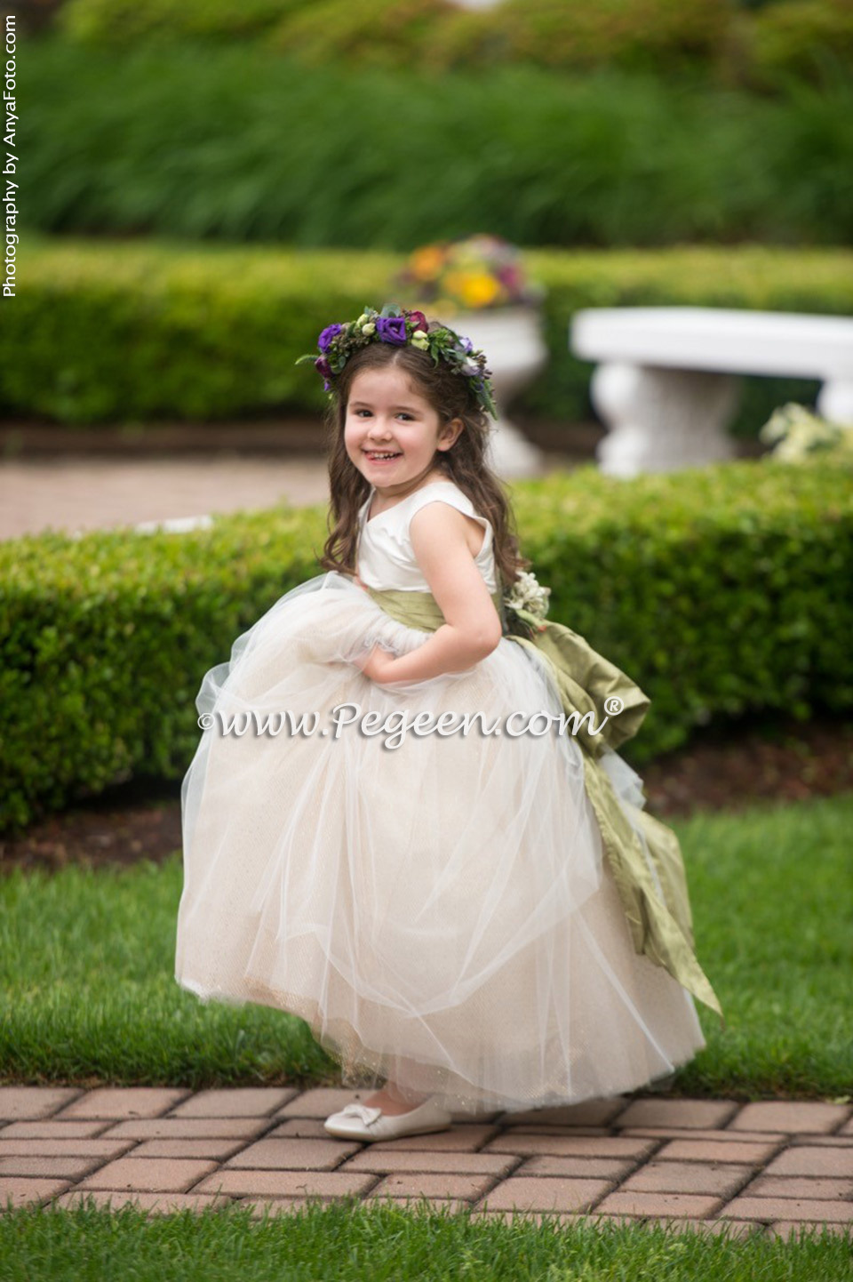 Harvest green silk flower girl dress