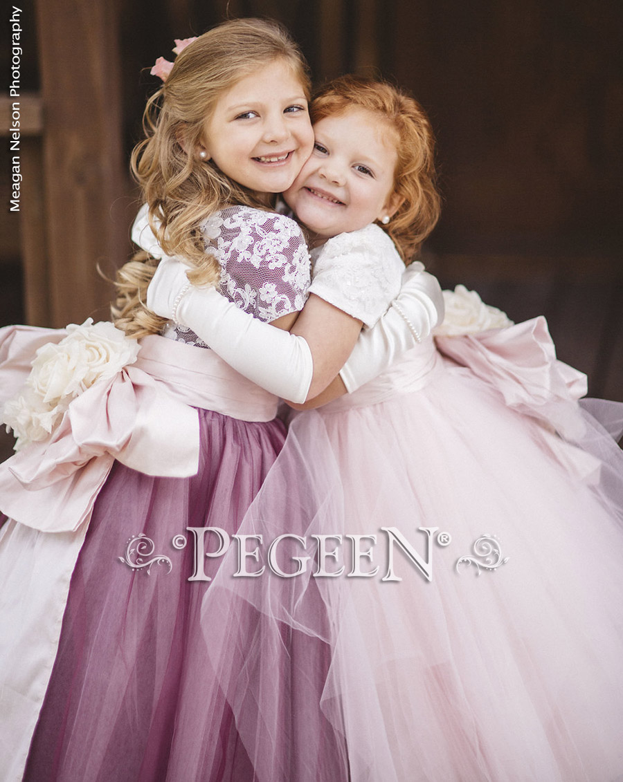 Pink, Burgundy and New ivory sillk flower girl dresses